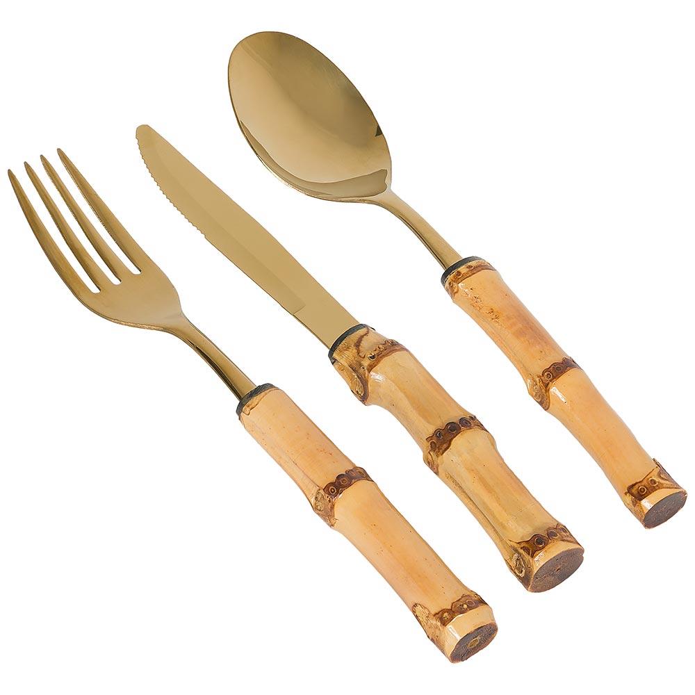 Faqueiro Mesa Bambu Gold